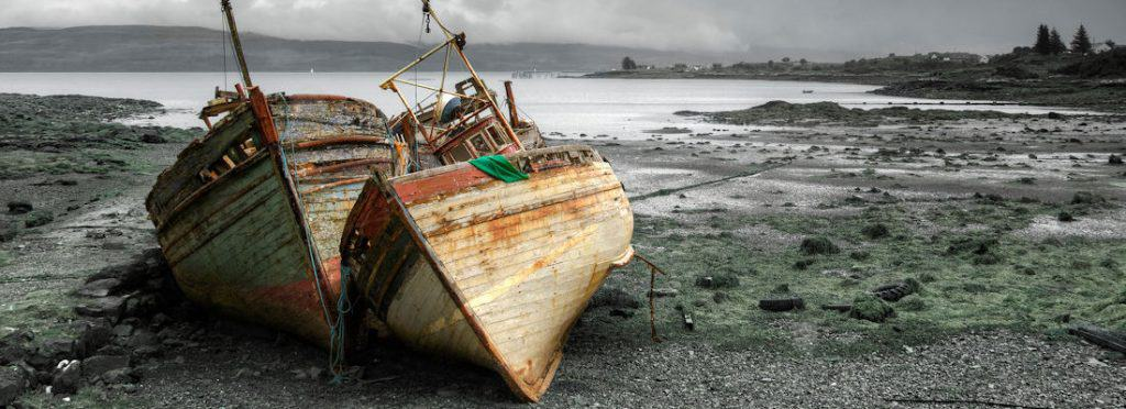 Abandoned boats in Salen, Isle of Mull, Scotland